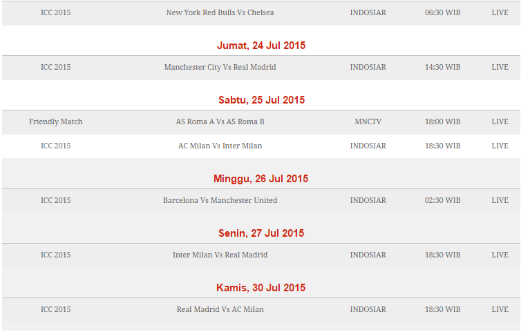 Jadwal International Champions Cup 2015 Part 2